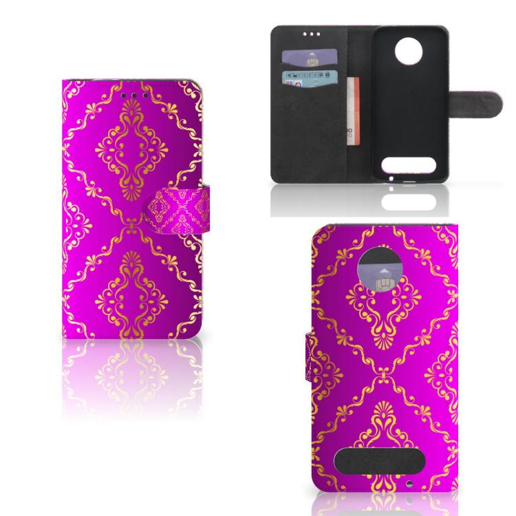 Wallet Case Motorola Moto Z2 Force Barok Roze