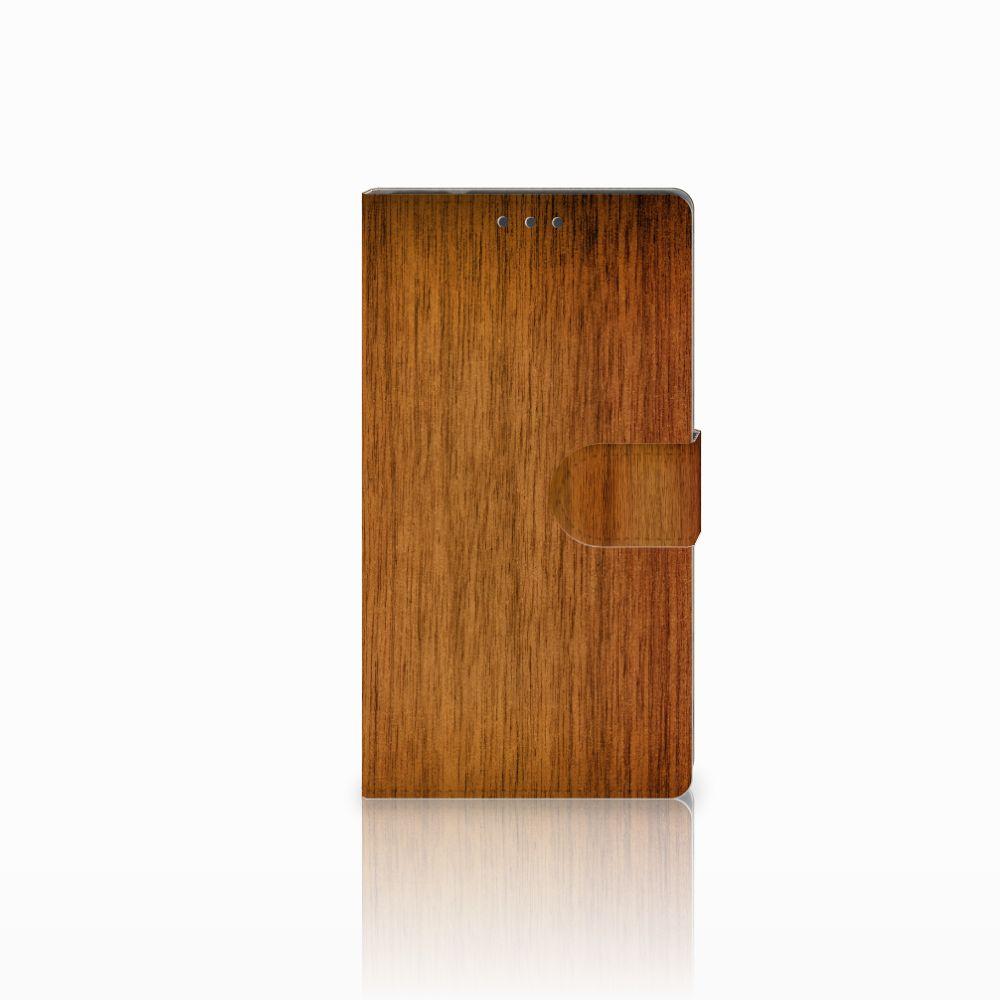 Samsung Galaxy Note 4 Uniek Boekhoesje Donker Hout