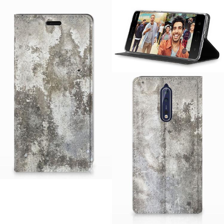 Nokia 8 Standcase Beton Print