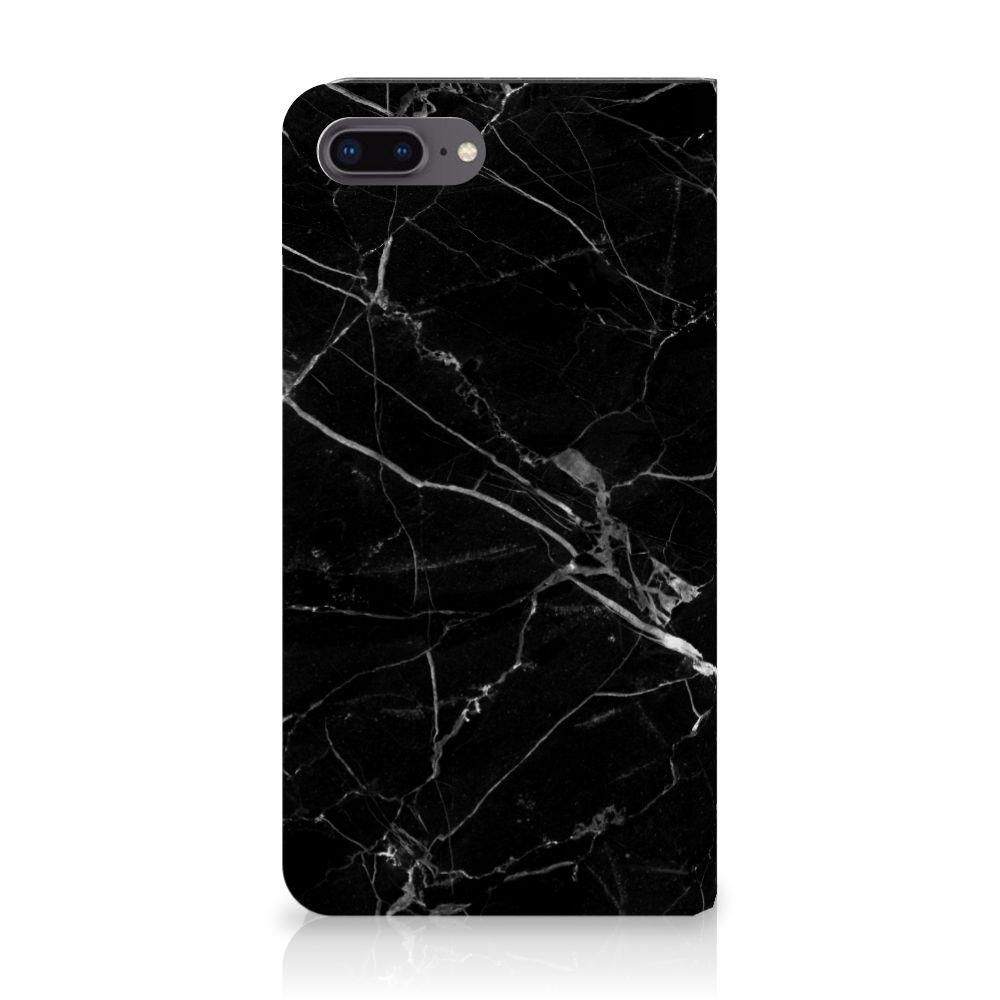Apple iPhone 7 Plus | 8 Plus Uniek Standcase Hoesje Marmer Zwart