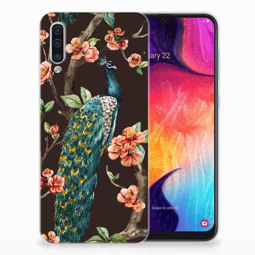 Samsung Galaxy A50 TPU Hoesje Pauw met Bloemen