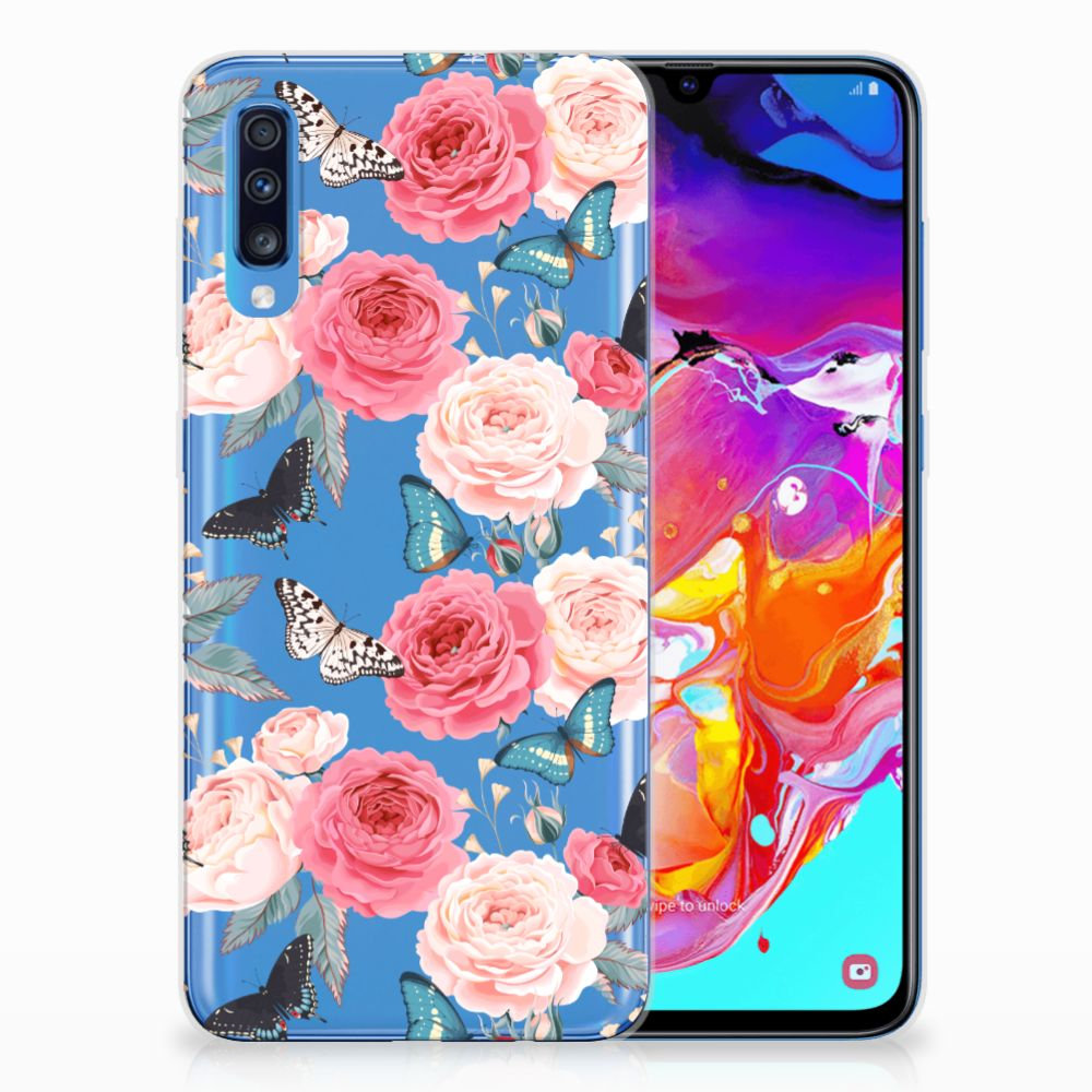 Samsung Galaxy A70 Uniek TPU Hoesje Butterfly Roses