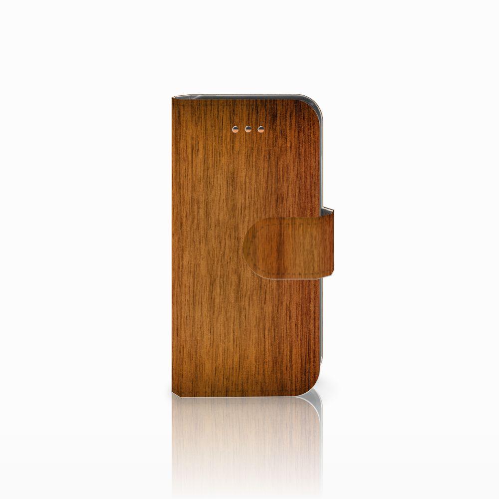 Apple iPhone 5C Uniek Boekhoesje Donker Hout