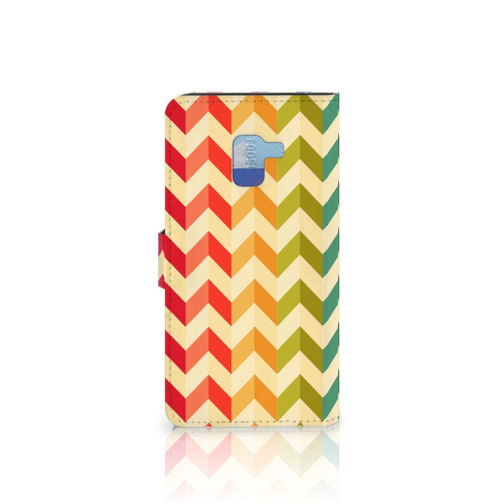 Samsung Galaxy A8 Plus (2018) Telefoon Hoesje Zigzag Multi Color