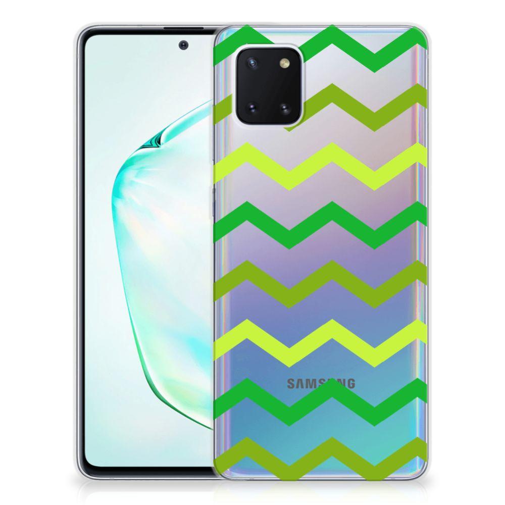 Samsung Galaxy Note 10 Lite TPU bumper Zigzag Groen