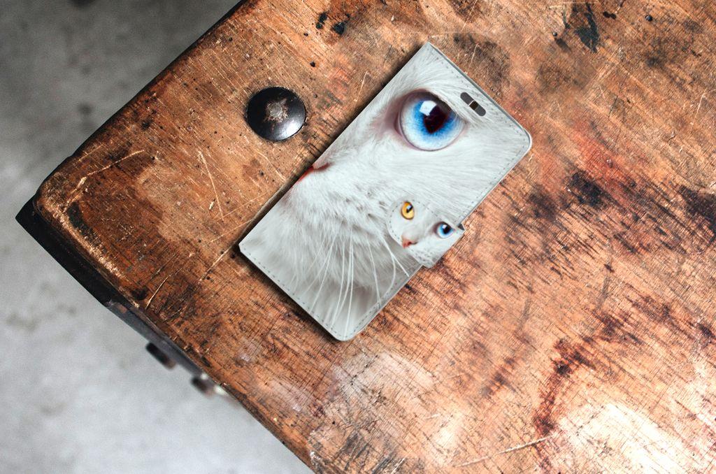 Huawei Y625 Telefoonhoesje met Pasjes Witte Kat