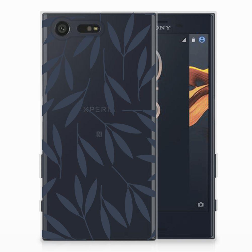 Sony Xperia X Compact TPU Hoesje Design Leaves Blue