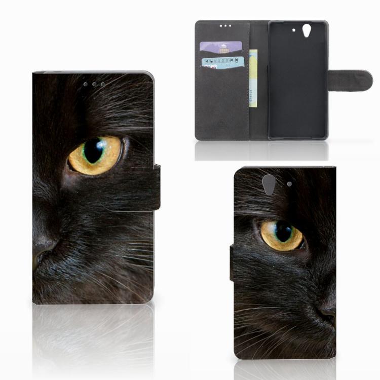 Sony Xperia Z Telefoonhoesje met Pasjes Zwarte Kat