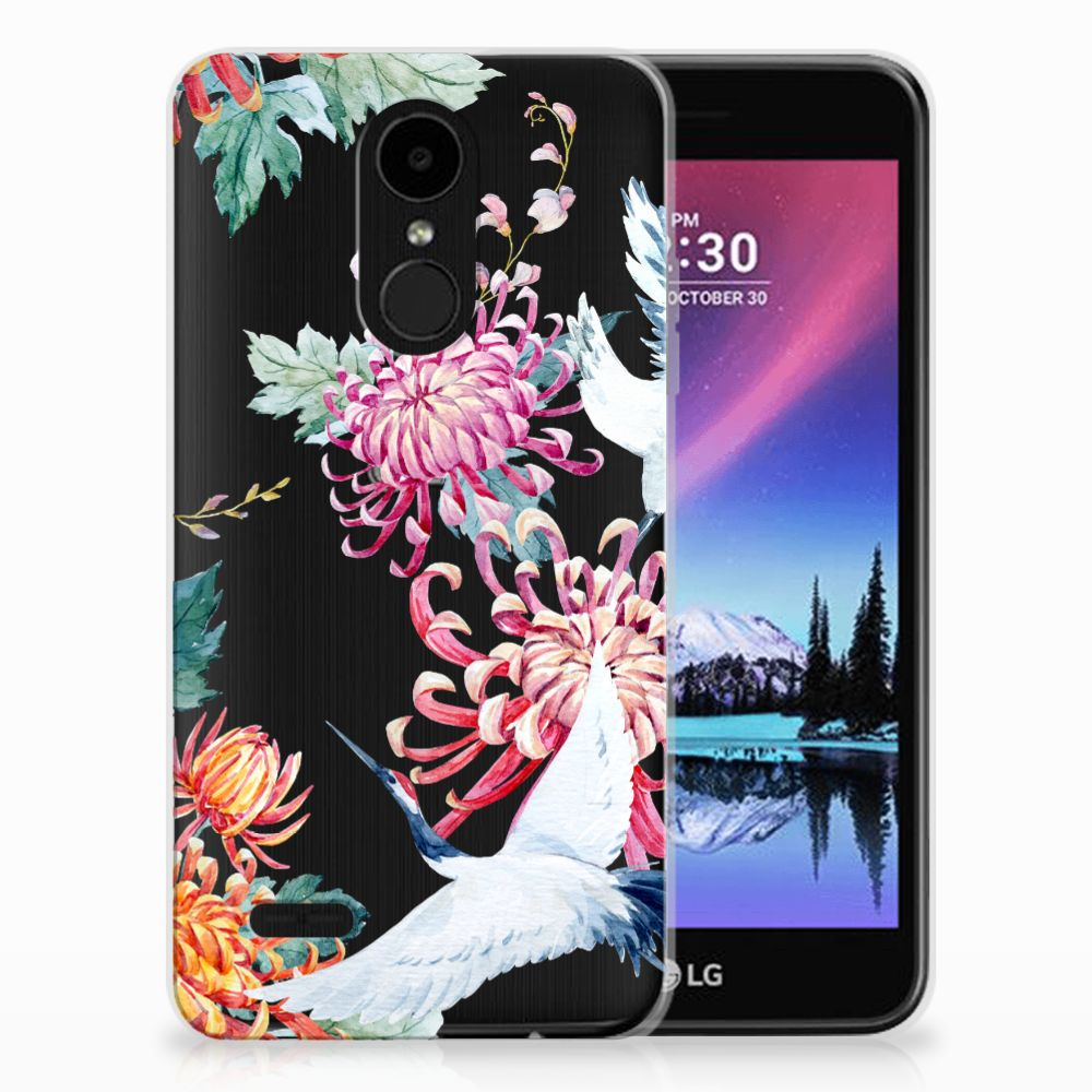 LG K4 (2017) Uniek TPU Hoesje Bird Flowers