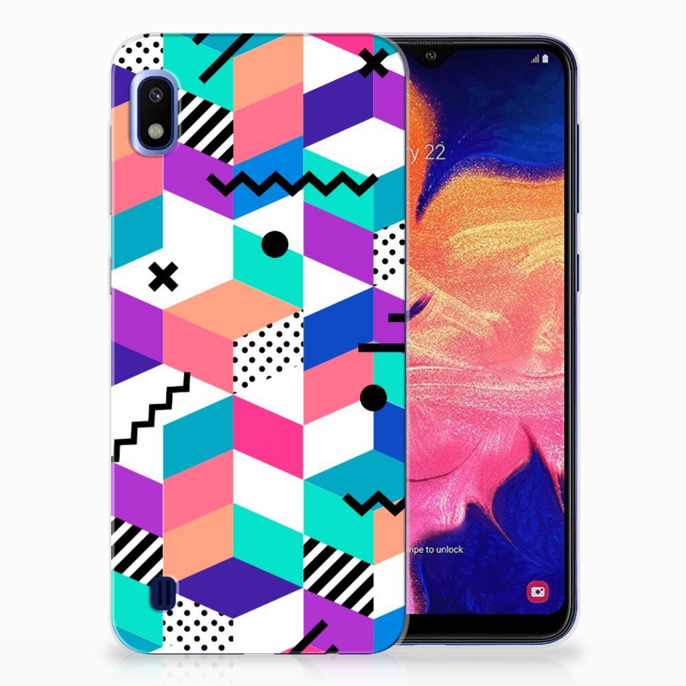 Samsung Galaxy A10 TPU Hoesje Blokken Kleurrijk
