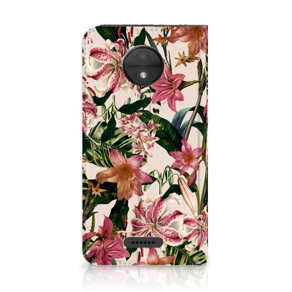 Motorola Moto C Uniek Standcase Hoesje Flowers