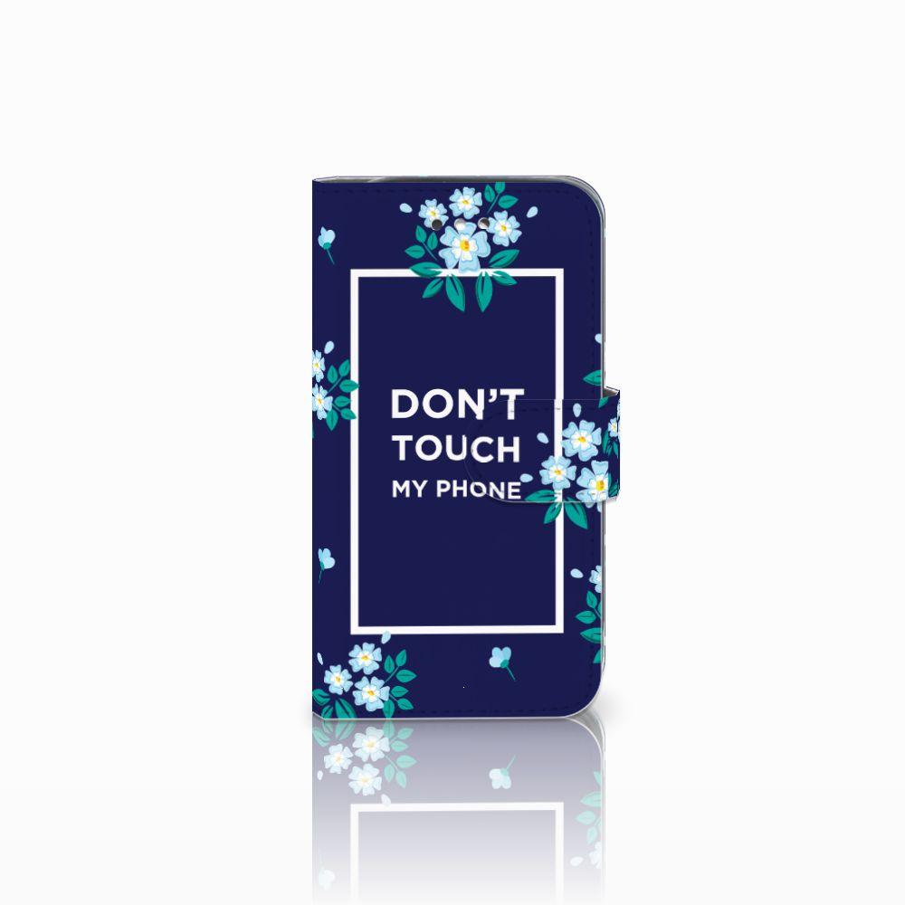 Samsung Galaxy S4 Boekhoesje Flowers Blue DTMP
