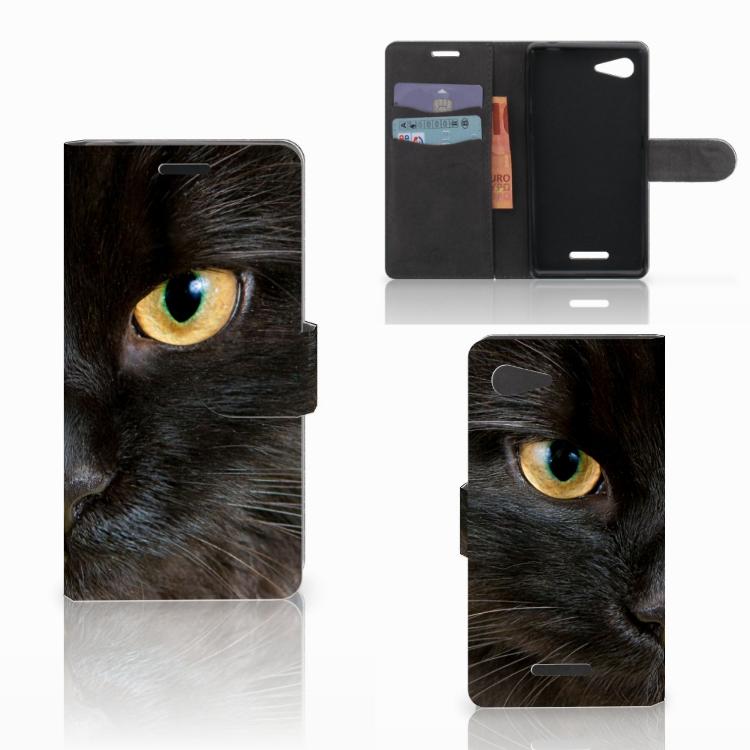 Sony Xperia E3 Telefoonhoesje met Pasjes Zwarte Kat