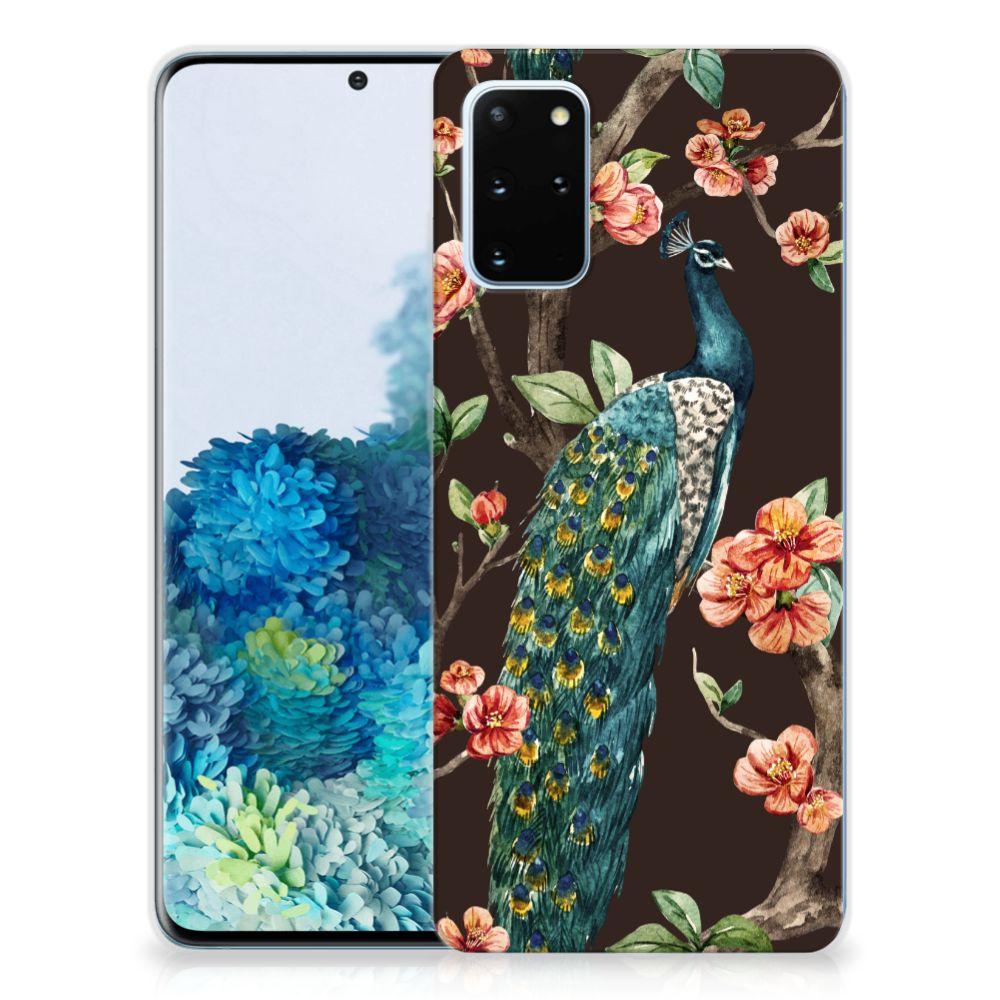 Samsung Galaxy S20 Plus TPU Hoesje Pauw met Bloemen