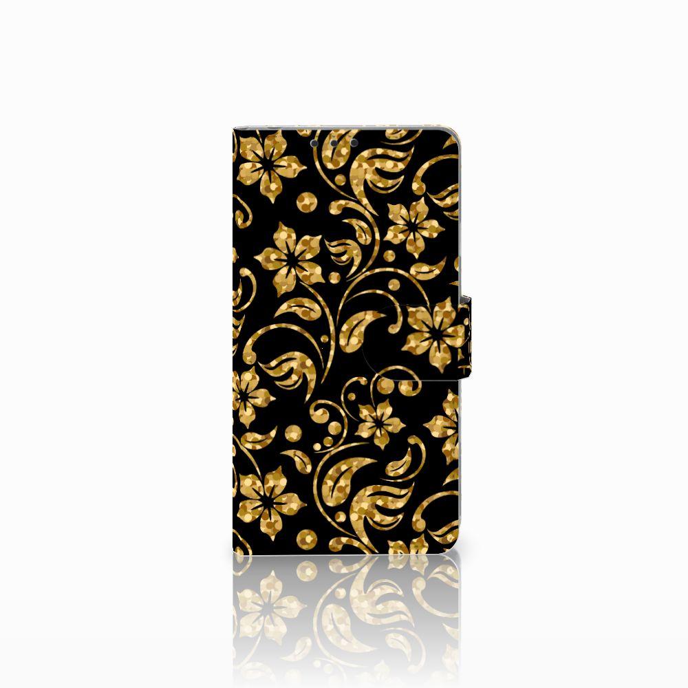 Sony Xperia Z1 Boekhoesje Design Gouden Bloemen