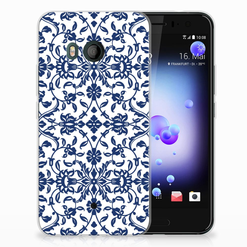 HTC U11 Uniek TPU Hoesje Flower Blue