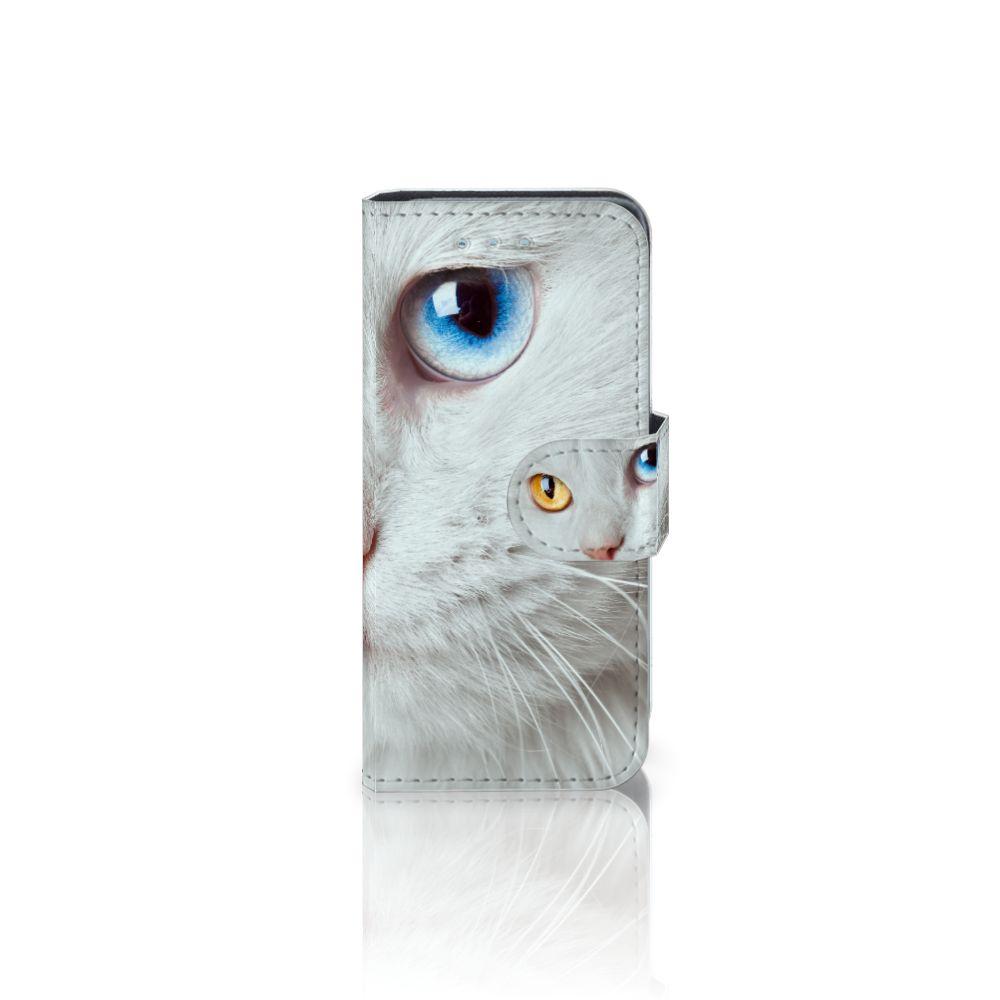 Samsung Galaxy S4 Mini i9190 Telefoonhoesje met Pasjes Witte Kat