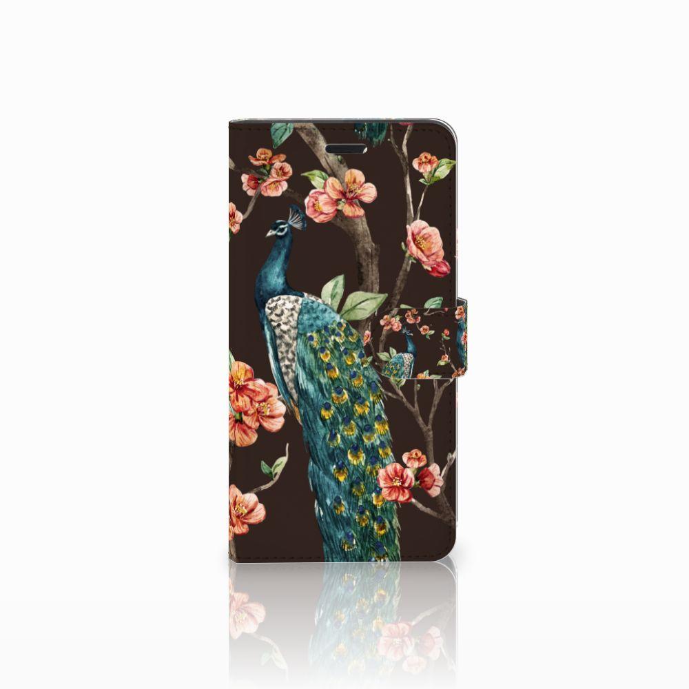 Wiko Pulp Fab 4G Boekhoesje Design Pauw met Bloemen