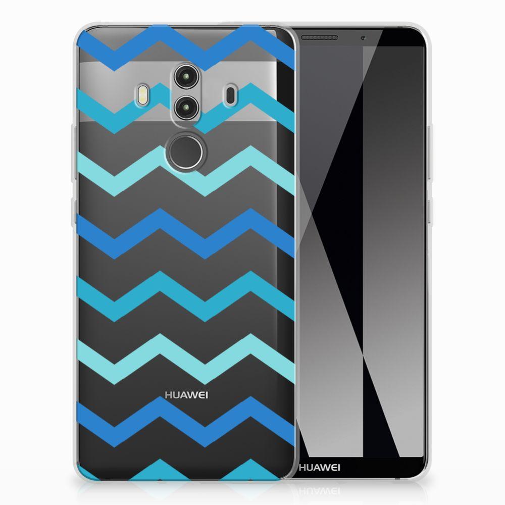 Huawei Mate 10 Pro Uniek TPU Hoesje Zigzag Blauw