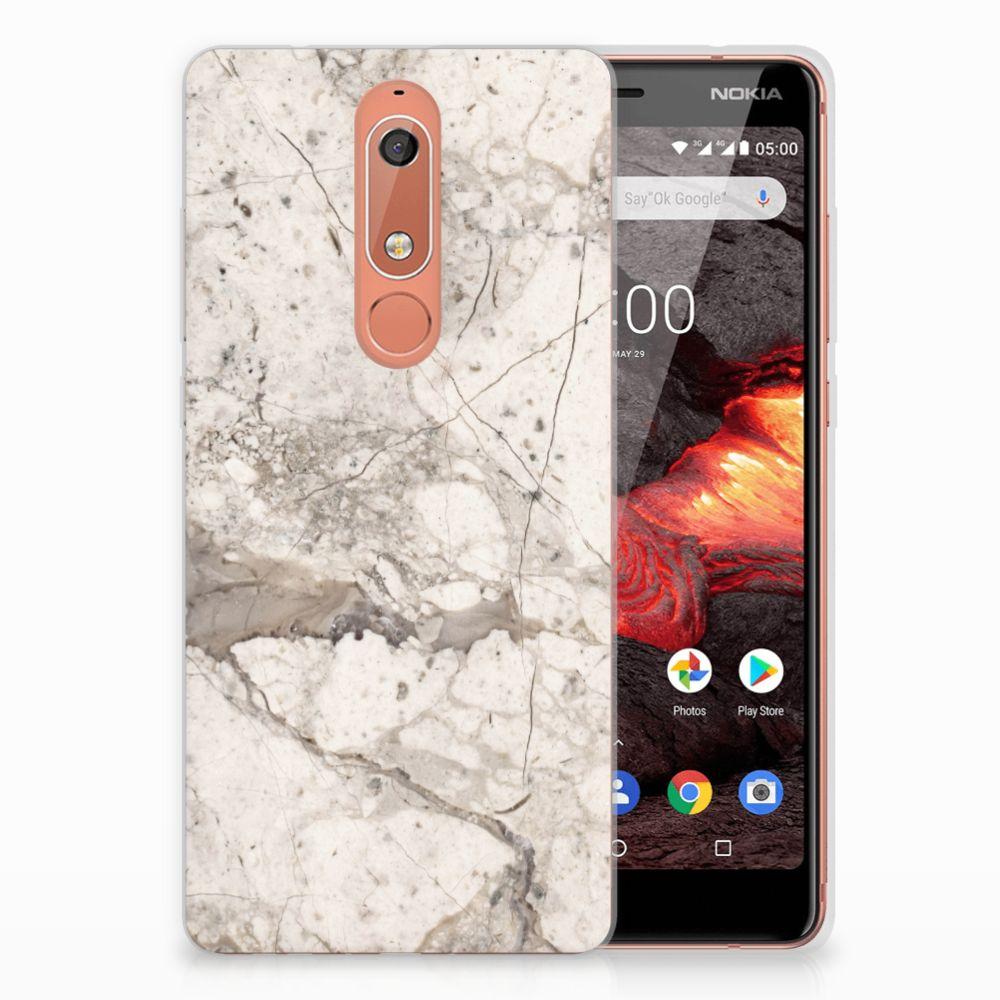 Nokia 5.1 (2018) TPU Siliconen Hoesje Marmer Beige
