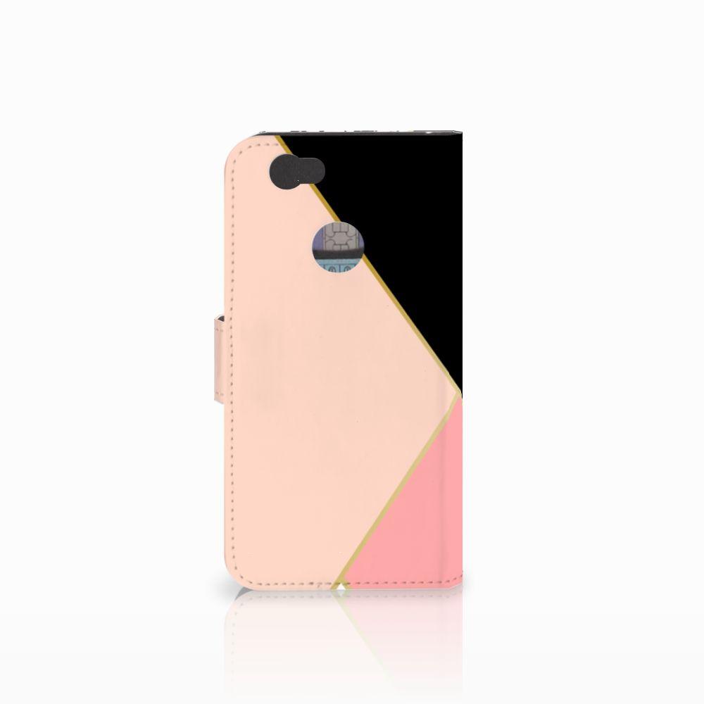 Huawei Nova Bookcase Zwart Roze Vormen