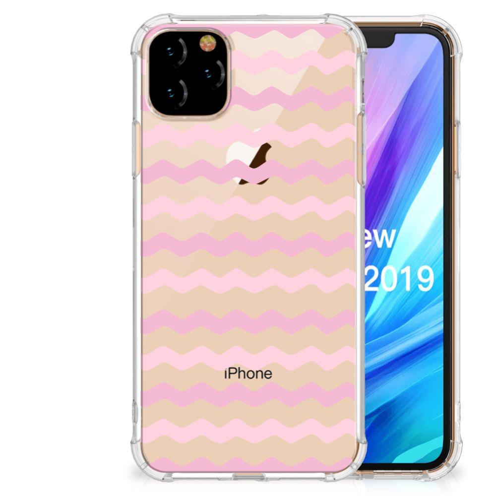 Apple iPhone 11 Pro Max Doorzichtige Silicone Hoesje Waves Roze