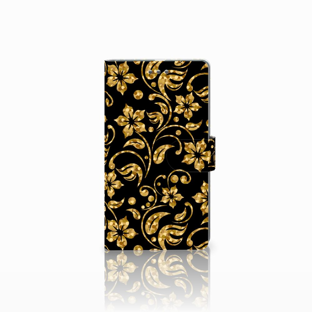 Microsoft Lumia 950 XL Boekhoesje Design Gouden Bloemen