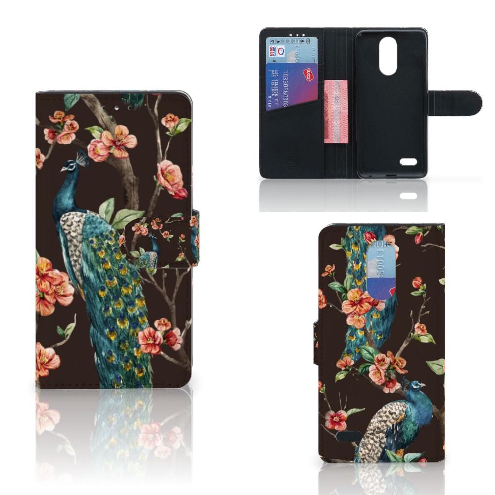 LG K10 (2017) Telefoonhoesje met Pasjes Pauw met Bloemen