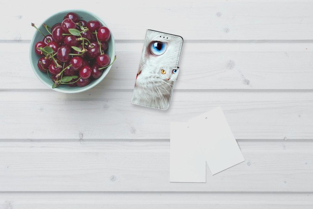 Samsung Galaxy J5 2016 Telefoonhoesje met Pasjes Witte Kat