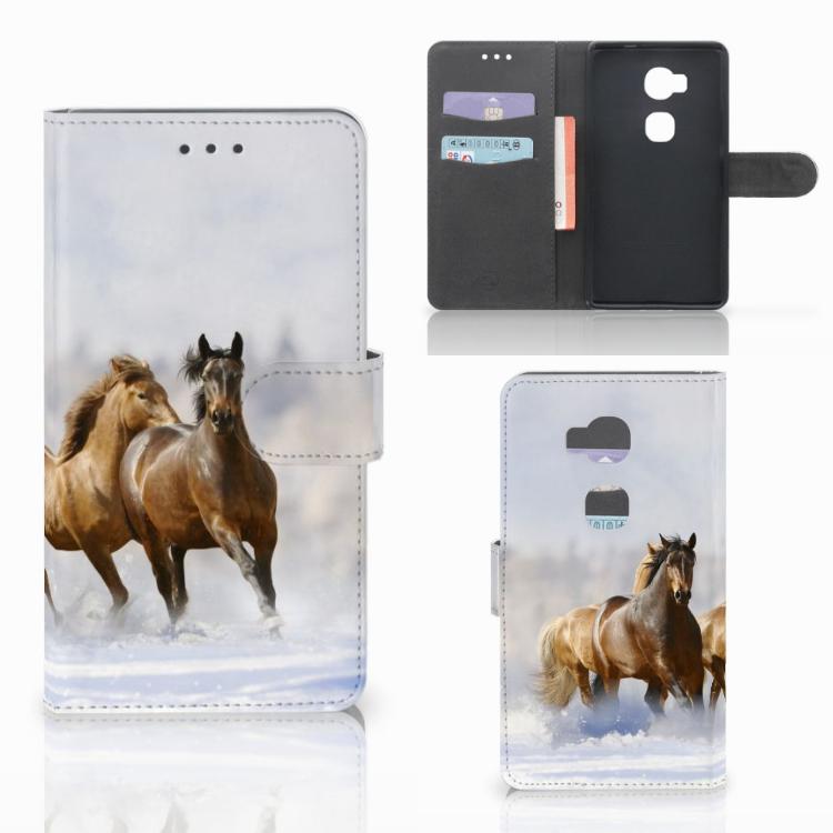 Huawei Honor 5X Telefoonhoesje met Pasjes Paarden