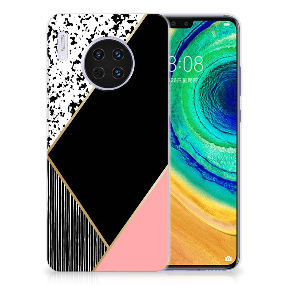 Huawei Mate 30 TPU Hoesje Zwart Roze Vormen
