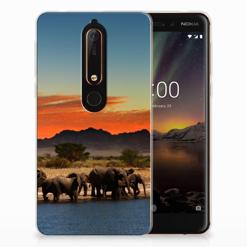 Nokia 6 (2018) TPU Hoesje Design Olifanten
