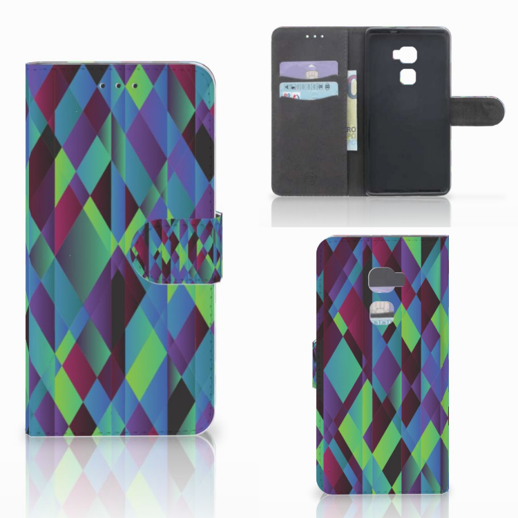 Huawei Mate S Bookcase Abstract Green Blue