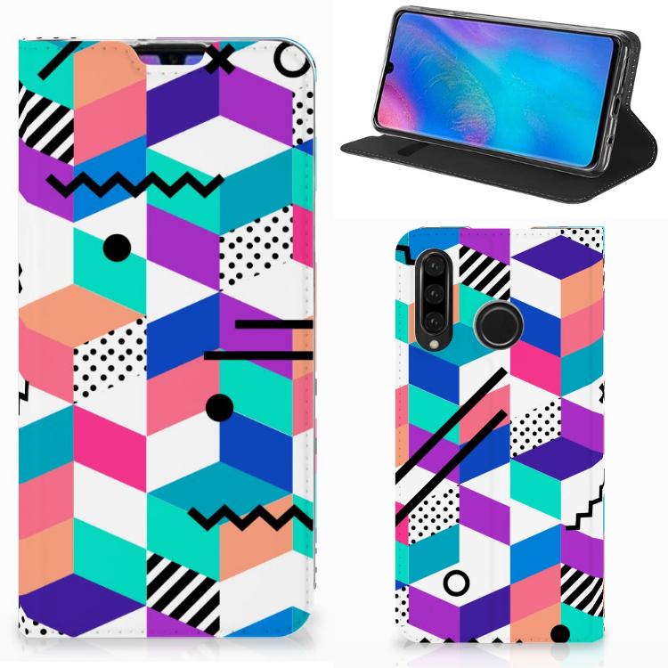 Huawei P30 Lite New Edition Stand Case Blokken Kleurrijk