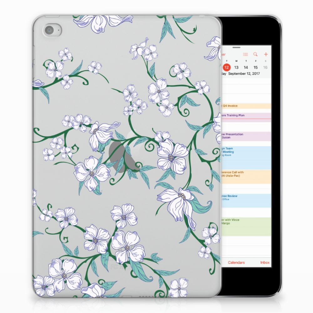 Apple iPad Mini 4 | Mini 5 (2019) Uniek Siliconen Hoesje Blossom White