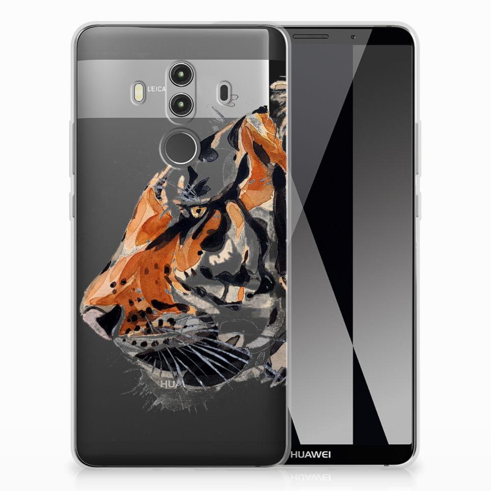 Huawei Mate 10 Pro Uniek TPU Hoesje Watercolor Tiger