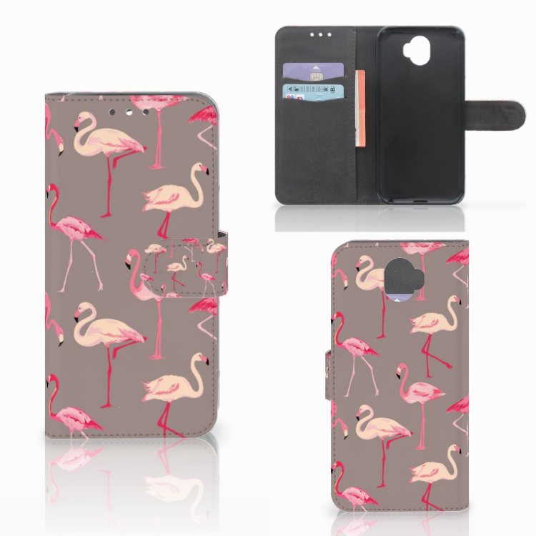 Wiko Wim Telefoonhoesje met Pasjes Flamingo