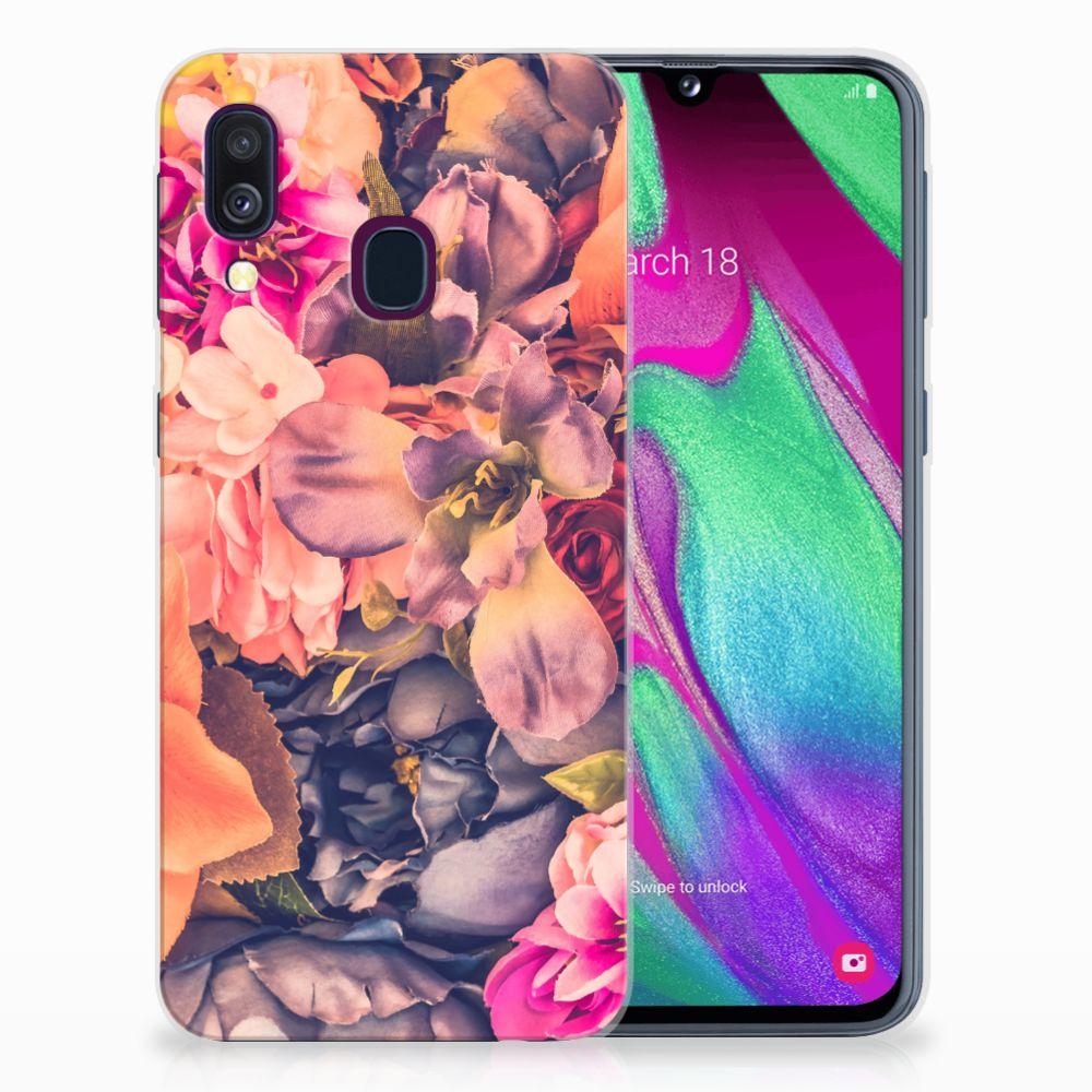 Samsung Galaxy A40 TPU Hoesje Design Bosje Bloemen