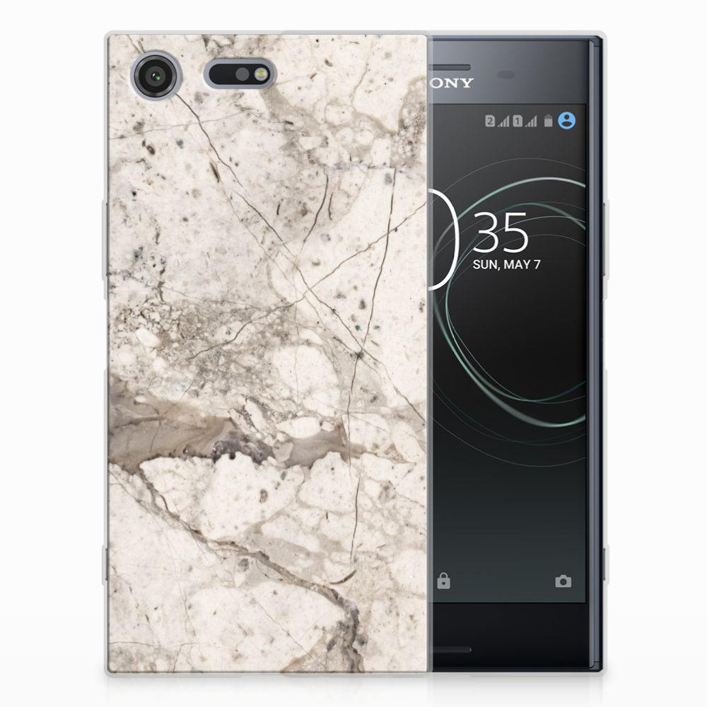 Sony Xperia XZ Premium TPU Siliconen Hoesje Marmer Beige