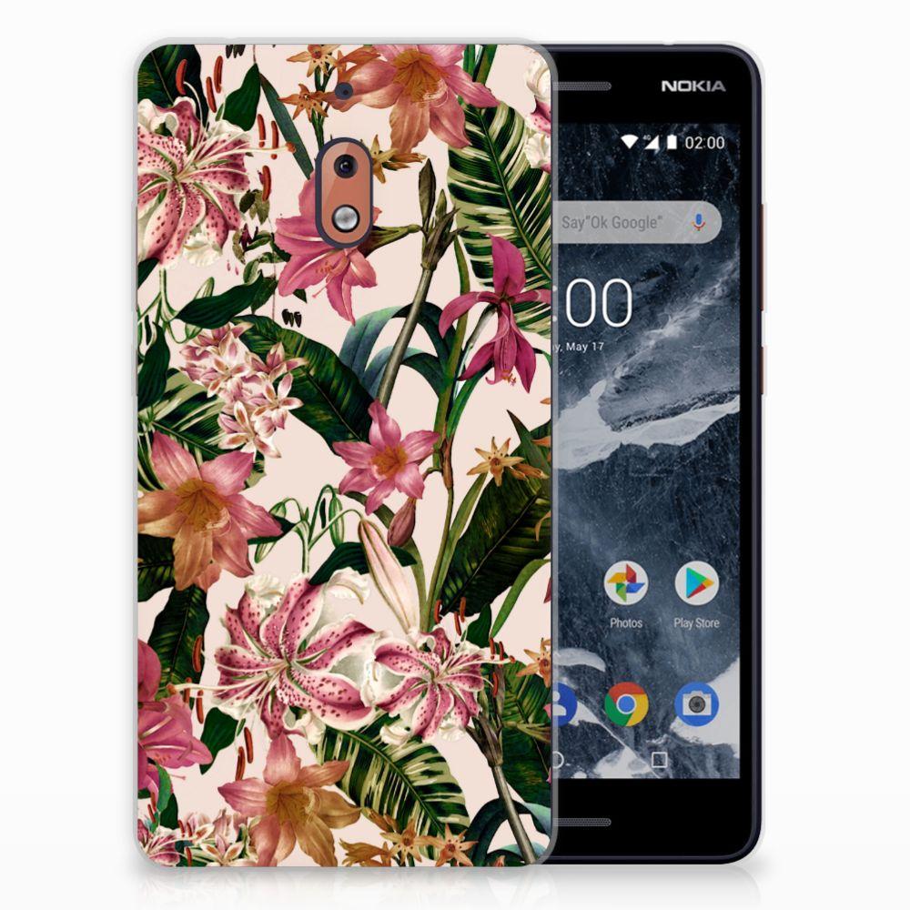 Nokia 2.1 (2018) Uniek TPU Hoesje Flowers