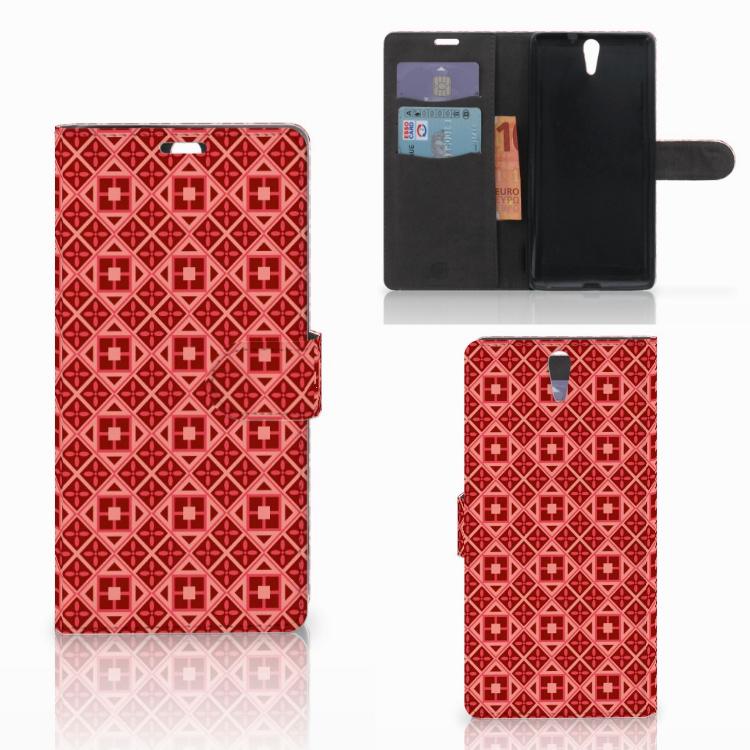 Sony Xperia C5 Ultra Telefoon Hoesje Batik Rood