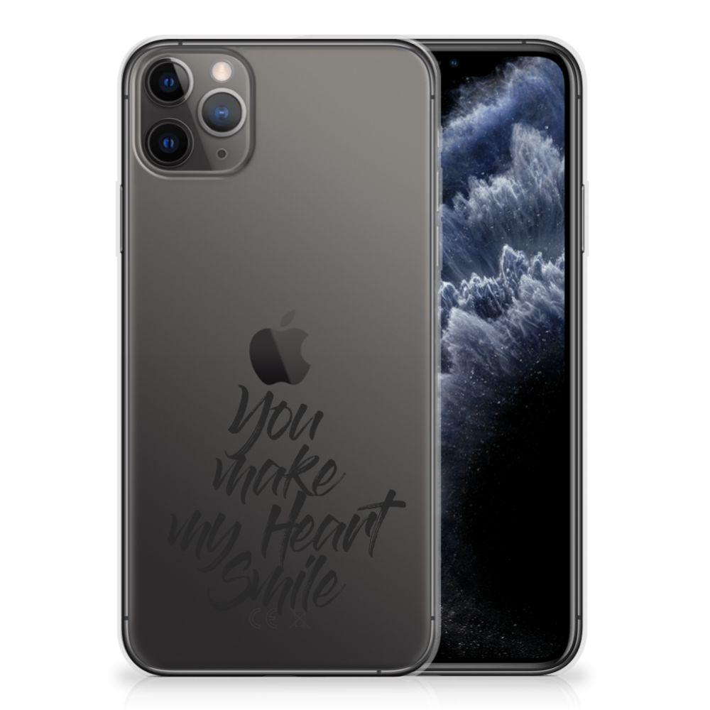 Apple iPhone 11 Pro Max Siliconen hoesje met naam Heart Smile