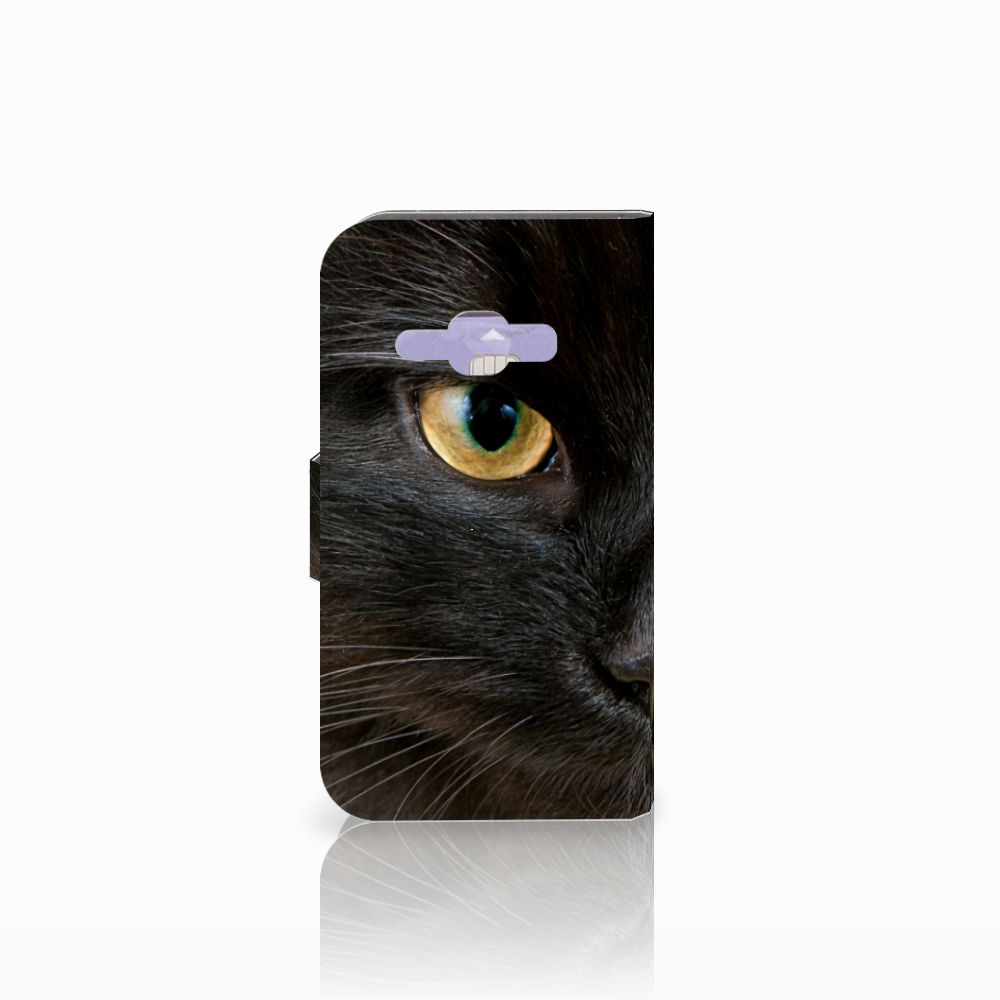 Samsung Galaxy J1 2016 Telefoonhoesje met Pasjes Zwarte Kat