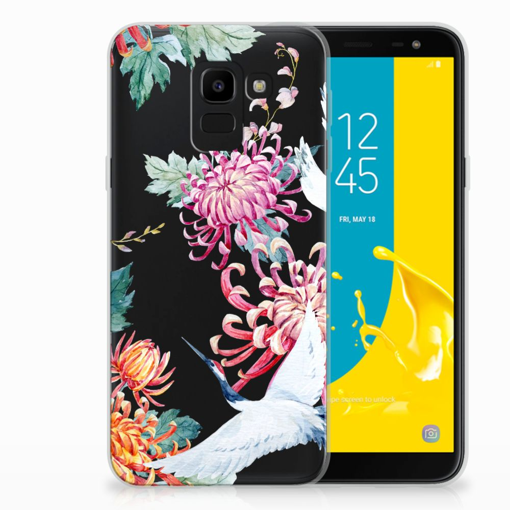 Samsung Galaxy J6 2018 Uniek TPU Hoesje Bird Flowers