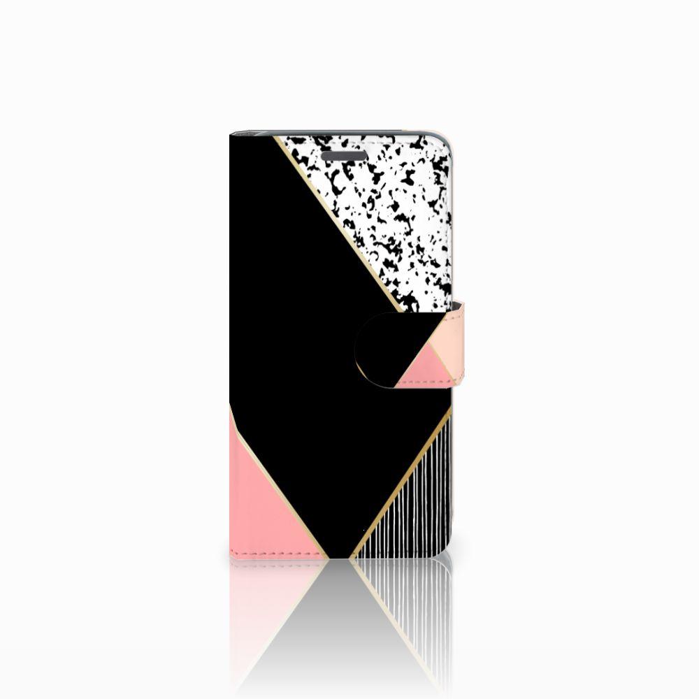 Wiko Rainbow Jam Uniek Boekhoesje Black Pink Shapes
