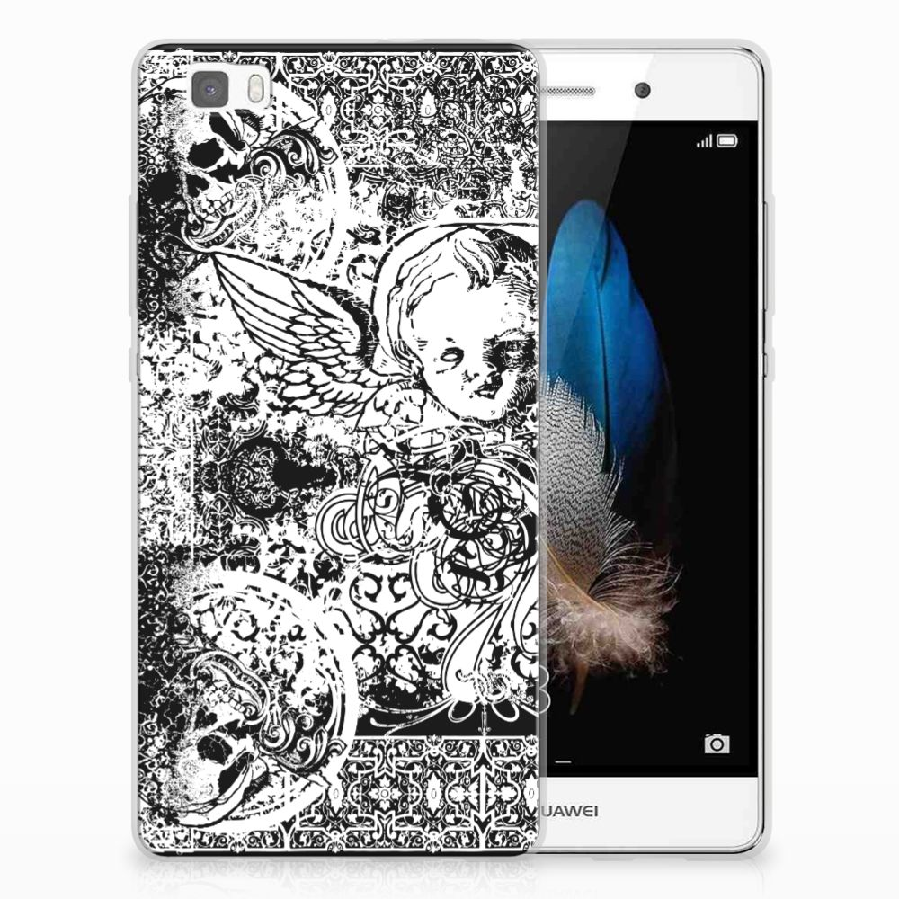 Silicone Back Case Huawei Ascend P8 Lite Skulls Angel