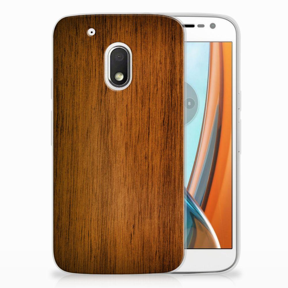 Motorola Moto G4 Play Uniek TPU Hoesje Donker Hout