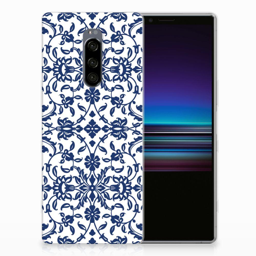 Sony Xperia 1 TPU Hoesje Flower Blue