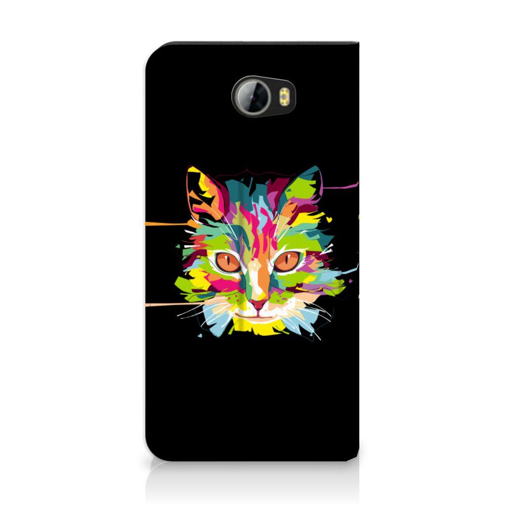 Huawei Y5 2 | Y6 Compact Uniek Standcase Hoesje Cat Color