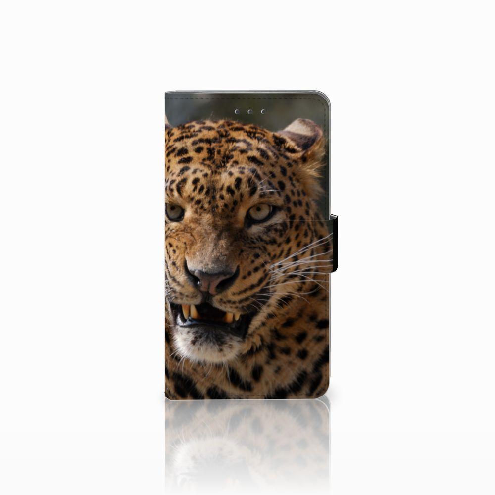 Samsung Galaxy J7 2016 Telefoonhoesje met Pasjes Luipaard